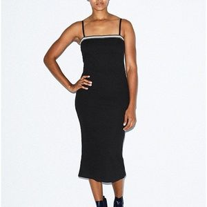 American Apparel Thick Rib Midi Tube Dress Black